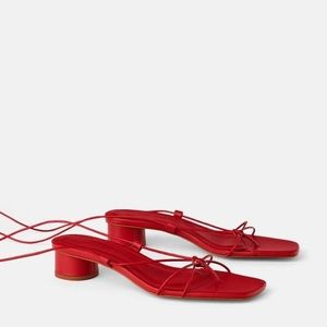 Zara Red Leather Sandals